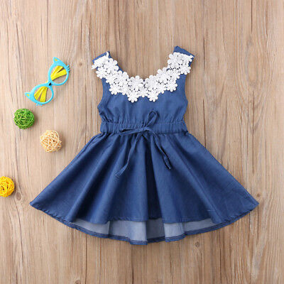 Kid Princess Baby Flower Girl Dress Denim Backless Party Gown Bridesmaid Dress
