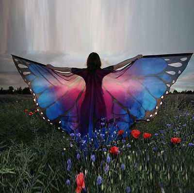 Women Butterfly Wing Shawl Stole Scarf Wrap Cloak Costume Party Christmas