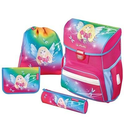 Herlitz Schulranzen Loop Plus Rainbow Fairy Regenbogen Fee Ranzen 4er-Set