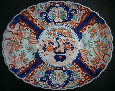 Antique Japanese Imari Painted Fluted Serving Platter Plate 16 1/4 ""