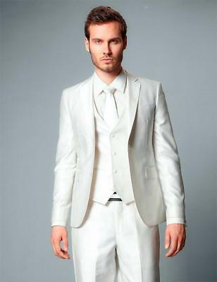 New Ivory Groom Tuxedos Tailcoat Best Man Wedding Groomsman Blazer Suit 3 Piece