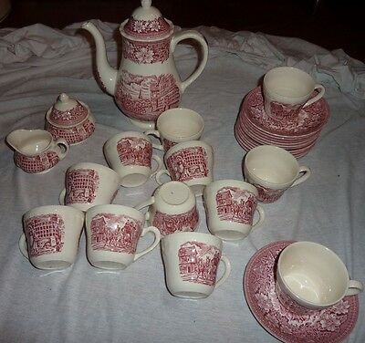 service a the anglais staffordshire rose coaching taverns royal tudor ware 27 p