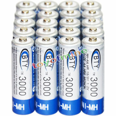 20 AA batteries Bulk Nickel Hydride Rechargeable NI-MH 3000mAh 1.2V BTY US STOCK