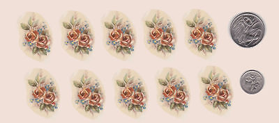 """10 Waterslide-ceramic-decals Decoupage Roses Forget-me-nots 1 1/2"""" x 1"""" PD414"""