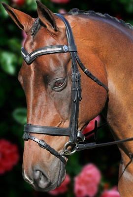 New Black Leather English Horse Bridle Bling V with Reins