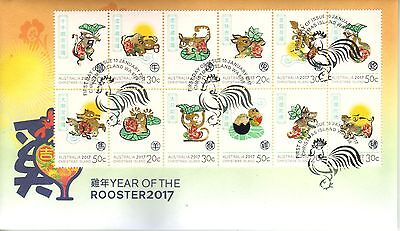 CHRISTMAS IS  2017 Year of the ROOSTER ZODIAC set of 12 stamps on FDC