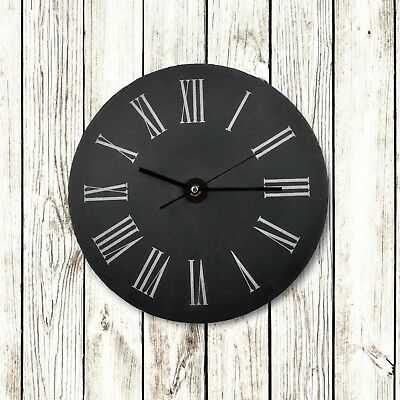 Natural round slate wall clock 30cm diam indoor engraver wholesale gift ideas