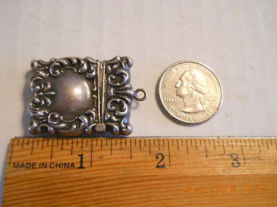 Victorian Antique Sterling Silver Repousee Chatelaine Stamp Box 5.3G