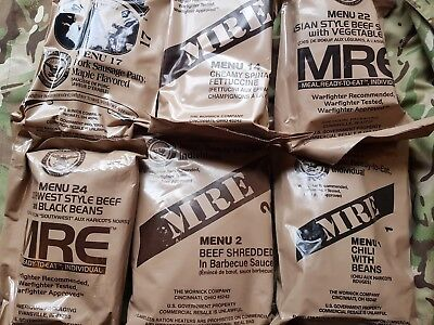 6x individual US ARMY MRE US rations meal ready to eat camping survival rat pack