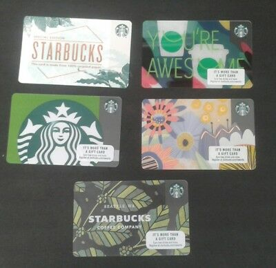 5 STARBUCKS GIFT CARDS # 6149, Siren, Arabica, Awesome, Spring, Recycled,  MINT