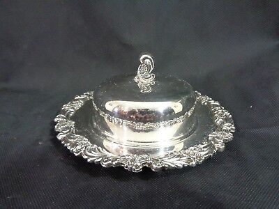"""Vintage Reed & Barton Silverplate 7"""" Covered Butter Tray Burgundy 2310 No Mono"""