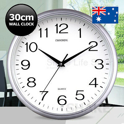 Silent Round Wall Mountable 30cm Quartz Analogue Clock Silver Home Office Decor