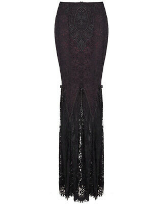 Punk Rave Womens Gothic Lace Skirt Red Black Long Floral Witch Victorian Mermaid
