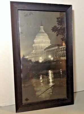 Vintage 1920's Wood Framed Photograph Of Capitol Building Washington Dc W.e.w.