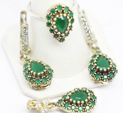turkish jewelry 925 sterling silver green emerald stone ladies set ALL SİZE us