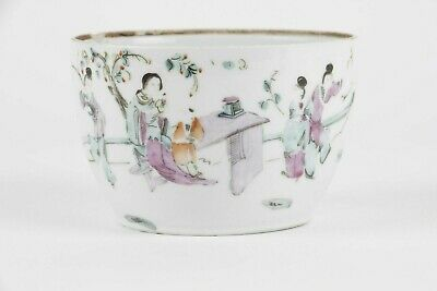 Antique Chinese porcelain cup 19th C, famille rose, court decoration
