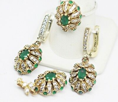 turkish jewelry 925 sterling silver green emerald stone ladies set ALL SİZE us -
