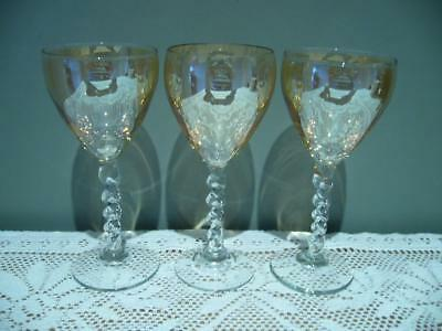 3 x MARIGOLD LUSTRE VINTAGE WINE GLASSES WITH TWISTED STEMS - HAND BLOWN - VGC