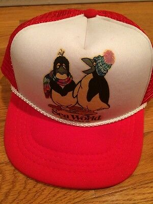 Sea World Children Size Trucker Snap Back Hat Youth 1988 Vintage Retro Red Cap