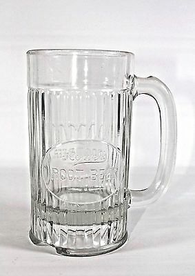 "1920's Howel's Root Beer Embossed Thick Glass Mug Stein 6"" Tall"