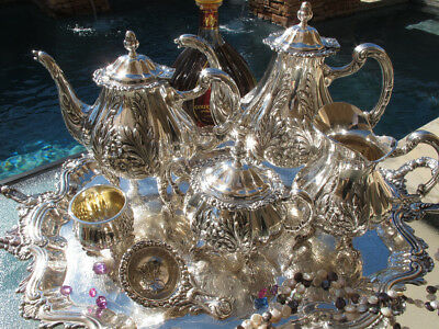 7 Old Spain Huge Sterling Silver Tea Coffee Set Tray Griffin Bird Repousse Heavy