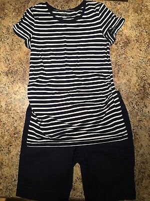 Maternity Summer Outfit Blue Knee Length Shorts Gap 8 Blue Striped Shirt M