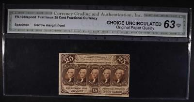 FR-1282spnmf Gr.63 First Issue 25 Cent Fractional Currency Orig. Paper Quality