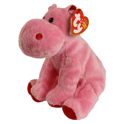 TY Beanie Baby - BIG KISS the Pink Hippo (6 inch) - MWMTs Stuffed Animal Toy