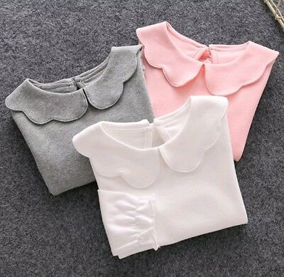 Peter Pan collar 3 long sleeve shirts girls size 6 white pink grey