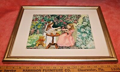 Anita Munson Watercolor Painting Picture in Frame of 2 Girls Tea Party
