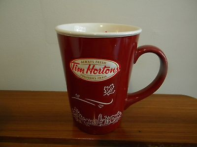 TIM HORTONS #010 RED MUG CITY-SCAPE LEAVES  MAPLE LEAF special edition 2010