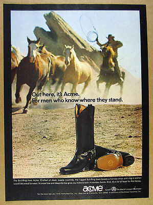 1972 Acme Bull-Ring Boots cowboy horses photo vintage print Ad