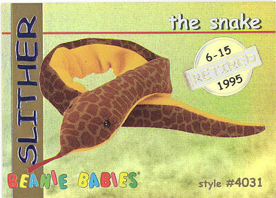 29895a3b6bb TY Beanie Babies BBOC Card - Series 1 Retired (GOLD) - SLITHER the Snake