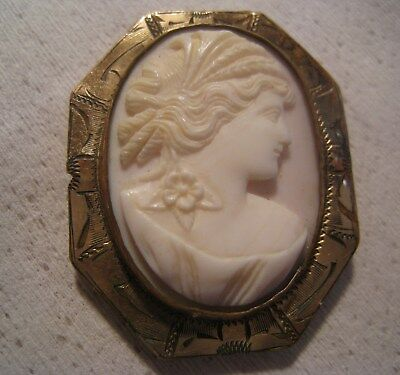 Victorian Angel Skin Coral Cameo Brooch Pin / Pendant Embossed Frame