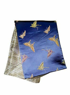 Custom-Made in USA, Art Silk Throw or Bed Scarf, Blue (6117)