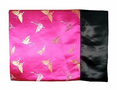 Custom-Made in USA, Art Silk Throw or Bed Scarf, Fuchsia/Black (6105)
