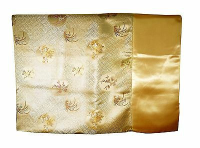 Custom-Made in USA, Art Silk Throw or Bed Scarf, Light Gold (6107)