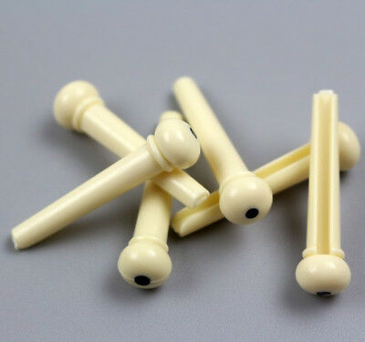 PARTS 6 X Bridge Pins White with Black Dot Acoustic Guitar Set NEW