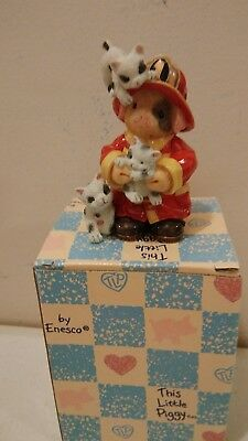 Enesco This Little Piggy Figurine NIB 1995 You're a Purr-fect Hero Fireman