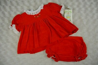 Nursery Rhyme 0-3 Months Dress Red White Eyelet Lace Vintage Floral Embroidery