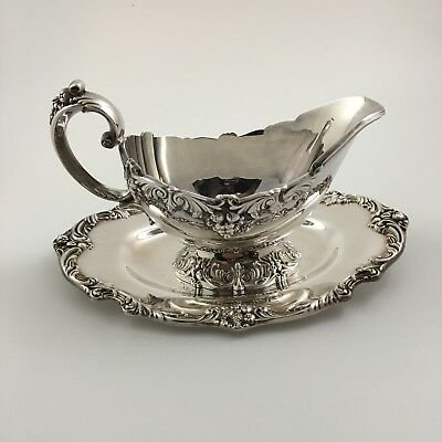 Reed Barton King Francis Gravy Boat & Underplate Silver Plate 1673