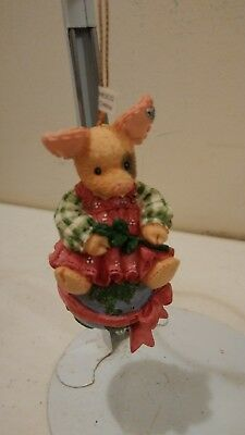 Enesco This Little Piggy Hanging Ornament Pig sitting On Earth NIB