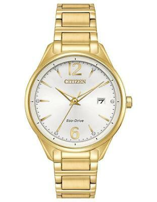 Ladies Citizen Eco-Drive Elegant Gold Stainless Silver Dial Watch FE6102-53A