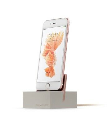 Native Union DOCK+ for iPhone - Weighted Charging Dock Stone & Rose Gold