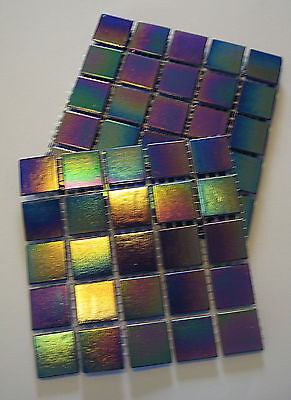 Glass Tiles ; Blue With An Iridescent Coating : 50 Small Tiles