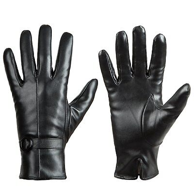 Womens Winter Leather Touchscreen Texting Warm Gloves Cashmere Lined Medium New