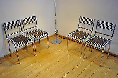 4 Chrome Chairs Made in Italy with Rubber Bands Covered Bauhaus Age Vintage