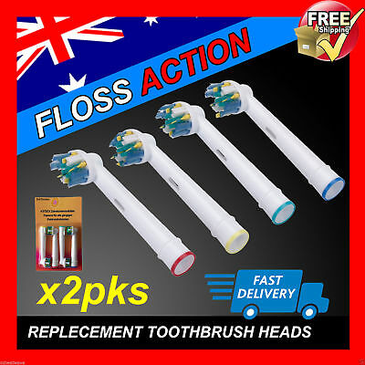 FLOSS ACTION Oral B Compatible Electric Toothbrush Replacement Brush Heads x8