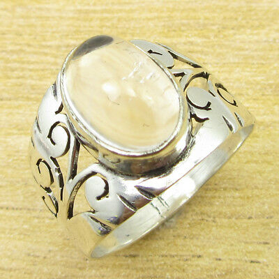 925 Silver Plated WHITE CRYSTAL & Other Gemstones ANTIQUE STYLE Ring, Many Size
