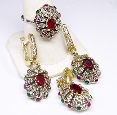 turkish jewelry 925 sterling silver  red emerald stone ladies set ALL SİZE us 1